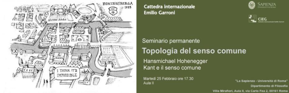 Seminario permanente - Topologia del senso comune - Hansmichael Hohenegger – Kant e il senso comune